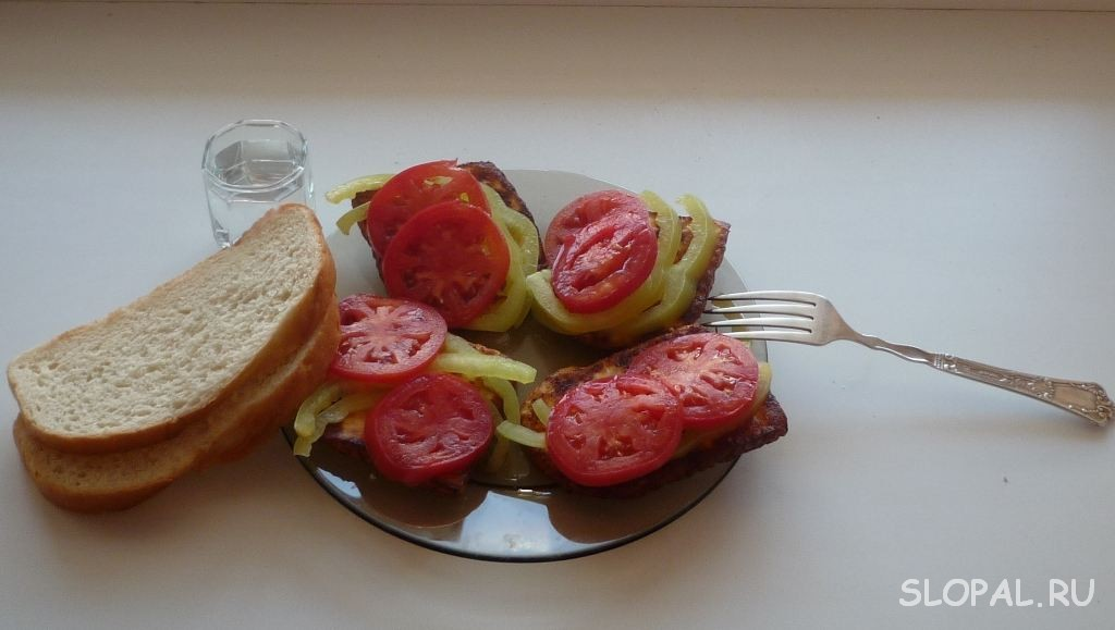 Закуска к пиву и водке. Жареный сыр с помидорами