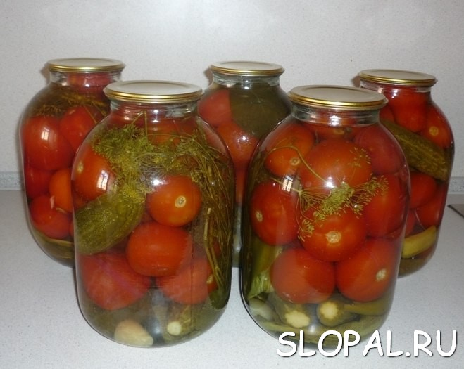 Маринованные помидоры и огурцы